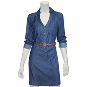 Indication Henley Cute Chambray Shirt Dress